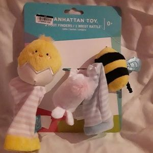 Adorable baby foot and wrist rattles